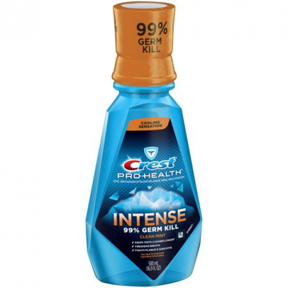 Ústna voda Crest Pro Health INTENSE 99% germ kill Clean Mint